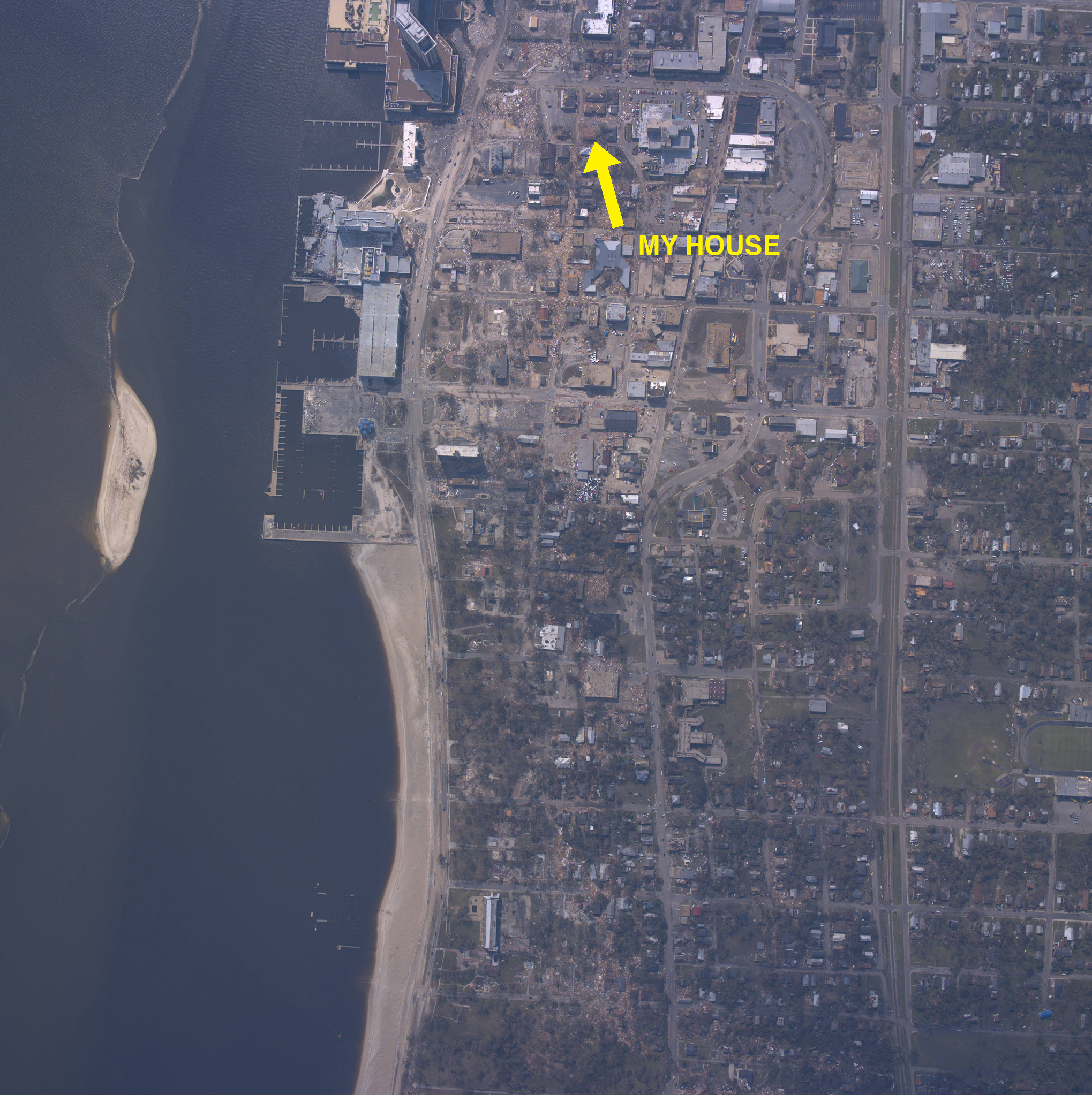Satellite view of Biloxi taken immediately after Katrina showing the location of my apartment.